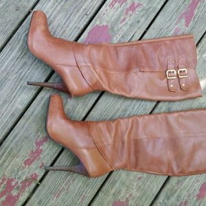 Steve Madden Ensue Cognac Leather Pull Up Boots